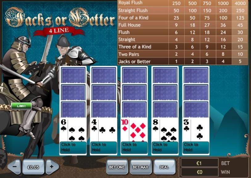 Play 4 Lines Jacks Or Better Game 9954 RTP Betfair Casino